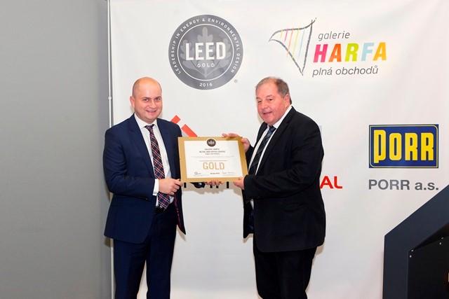 Pražská Galerie Harfa získala certifikát energetické úspornosti LEED Gold