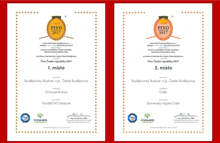 PardálOVO bezové a Somersby Apple Cider získaly medaile v soutěži Pivo České republiky 2017