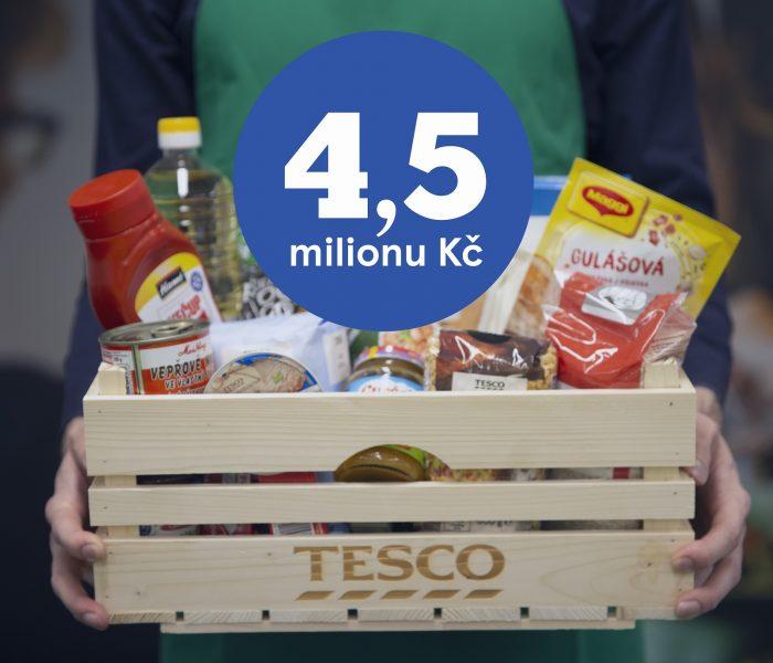Tesco daruje potravinovým bankám trvanlivé potraviny za 4,5 milionu korun na pomoc lidem vnouzi