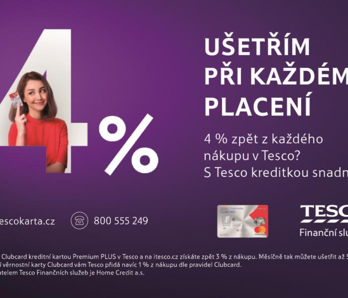 S Tesco Clubcard kreditní kartou ušetříte na každém nákupu v obchodech Tesco