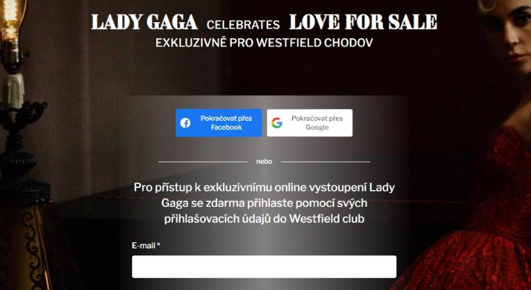 Lady Gaga vystoupí na on-line vystoupení exkluzivně pro Westfield